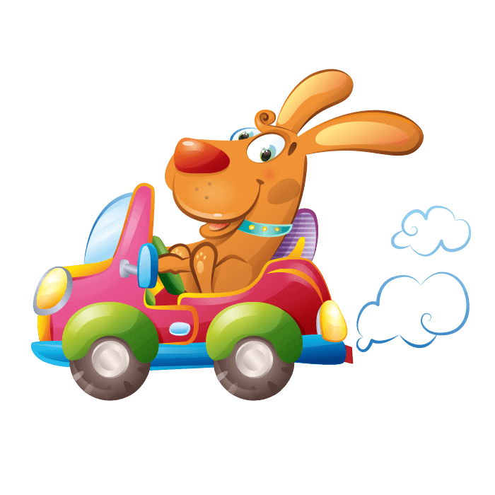 Behind the Wheel Wall Decors for Children, Puppy at the Wheel Sticker